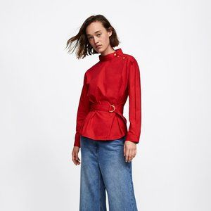 NWOT Zara Red Belted Blouse With Gold Buttons
